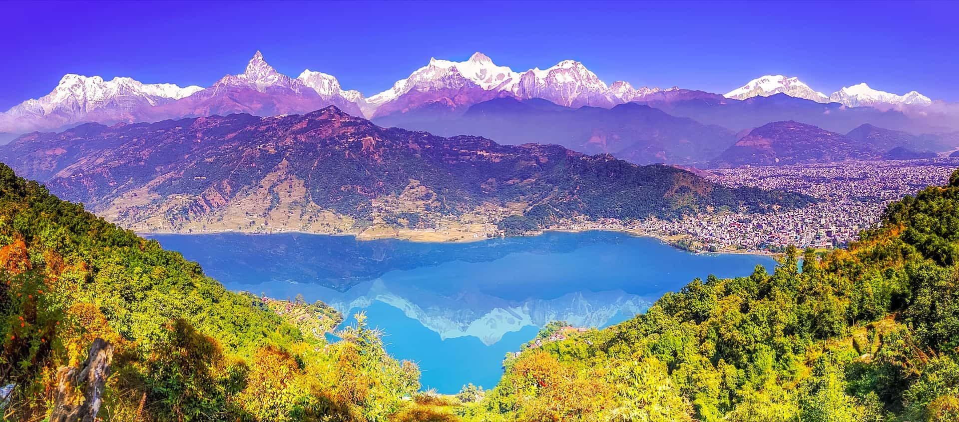 Pokhara tour, Pokhara from the top of Stupa Hills