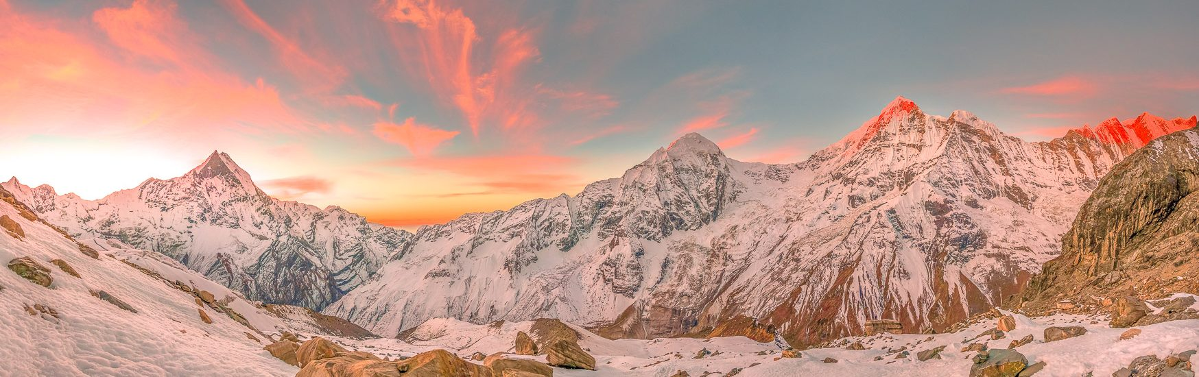 Sunrise view of Annapurna Range from Tharpu Chuli high camp, Nep