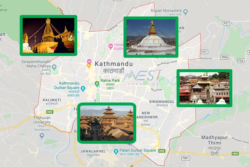 Things to see in Kathmandu City Tour Map